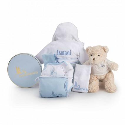 Výbavička pro miminko Můj župánek s výšivkou - modrý
