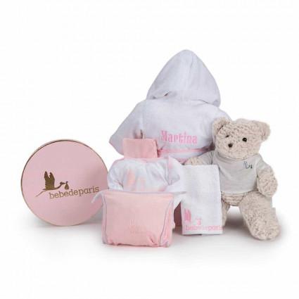 Výbavička pro miminko Můj župánek s výšivkou - růžový