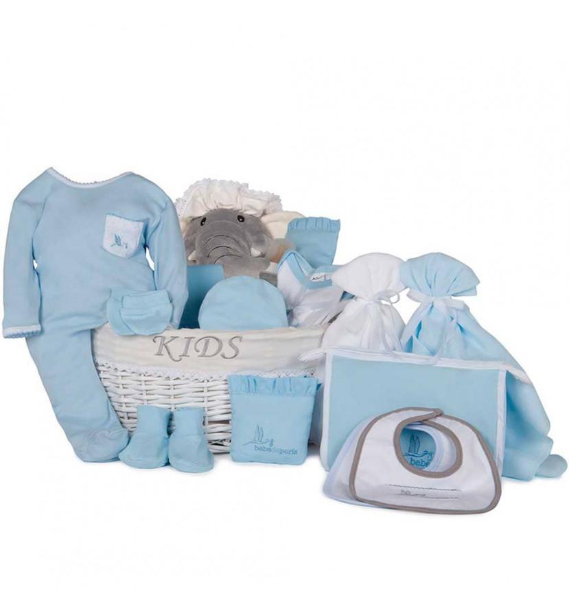 Dokonalý dárkový koš pro novorozence Moje slůně - modrý