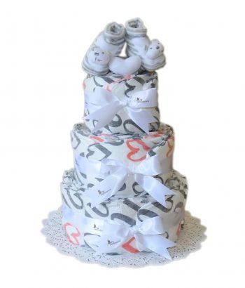 Třípatrový plenkový dort Srdce