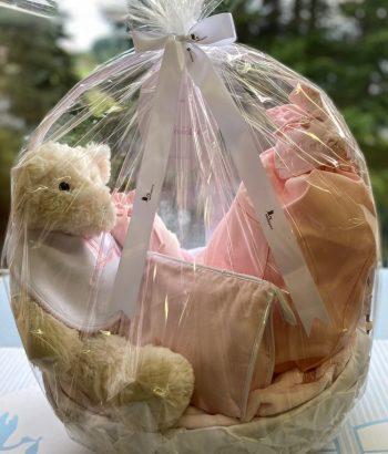 Dárkový koš pro miminko růžový - skvělý dárek k narození dítěte